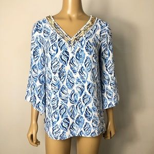Lilly Pulitzer shell print beaded tunic top